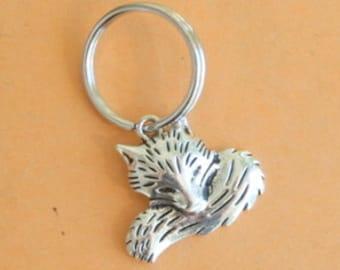 The FOX Keychain...silver. antique silver charm. fox jewelry. animal. foxy. furry. retro. kitsch. boho. metal. urban. hipster. hippie.