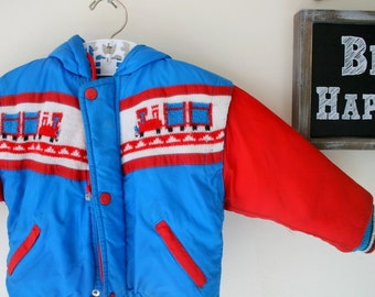 Vintage COLORFUL TRAIN Coat...size 24 months....retro. jacket. bright. royal blue. bright red. train. 70s kids. boys. railroad. boys coat.