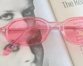 1980s PINK SPECTACLES Sunglasses..specs. pink. librarian. groovy. twiggy. mod. retro glasses. prep. secretary. urban. hipster. ozzy. lennon