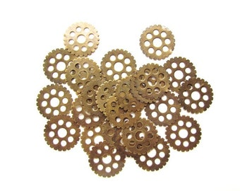 Antiqued Brass Metal Gear Charms / Sprockets, Cogs