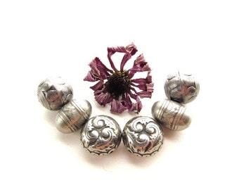 Large Hollow Metal Silver Beads