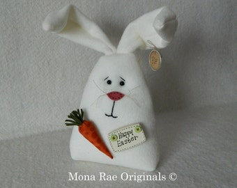 Easter Bunny Doll ~ White Polar Fleece Bunny With Carrot and Happy Easter Sign ~ Original Design