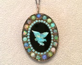 NewYear SALE Carved Opal Bird and Ethiopian opals sterling silver pendant