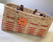 SALE - Save 20% - Handmade Tote Basket - Leather Handles and Orange Flower