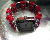 Red Faceted Round Beaded Stretch Watch Band