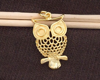 1 of 925 Sterling Silver 24k Gold Vermeil Style Owl Pendant  15x24mm. :vm0799