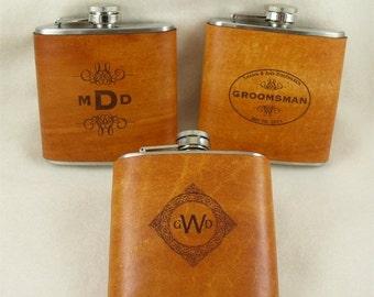 20% OFF SALE Groomsmen Flasks with Hand Dyed Engraved Leather Wrap - set of 12