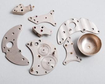 Set of 8 vintage metal clock parts, gears, findings