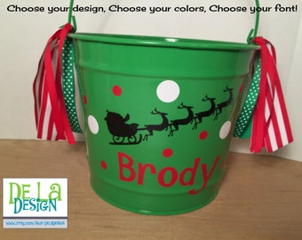 Personalized Christmas gift basket, 10 quart metal bucket, name or monogram, polka dots, Stocking alternative, Christmas book container