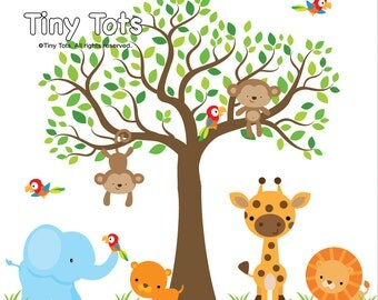 Jungle Wall Decal-Tree Wall Decal with animal-Wall Stickers-Nursery Wall Decals