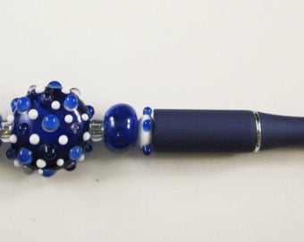 Navy Blue and White Testured Lampwork, Beaded, Ballpoint Pen, Artisan Crafted, One of a Kind, SRAJD, Hand Crafted Glass, OOAK, Navy Blue Pen