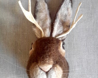 needlefelted jackalope mount - faux fauna by feltfactory