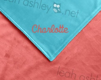 Baby Blanket - Turquoise MINKY Smooth, Coral MINKY Smooth - Caroline - BB1