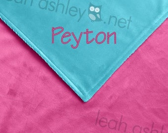 Baby Blanket - Hot Pink MINKY Smooth, Turquoise MINKY Smooth - Ella - BB1