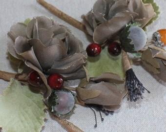 40s Vintage Millinery Gray Rose Flowers Berry Cluster Velvet leaves-OS