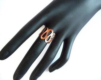 Boho Ring, Bohemian ring, copper ring, wide ring, wide copper ring, pattern ring, copper pattern ring, rose gold ring, adjustable ring,