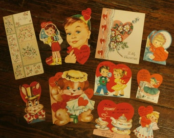 Lot  of 11 Vintage 1950s 1956 Valentines Day Card Scrapbooking Creative Crafting