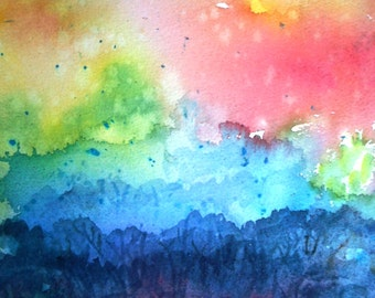 "Watercolour ""Woodland Morning- First Rays""- Irish landscape  -original painting, forest dawn"