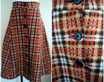 70s Plaid Skirt Southwest Button Down Vintage Dbl Knit Nylon Preppy Hipster Skirt 1970s Plaid Fashion Skirt 28 Waist