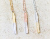 Two-Tone Vertical Bar necklace / bar necklace, stick necklace