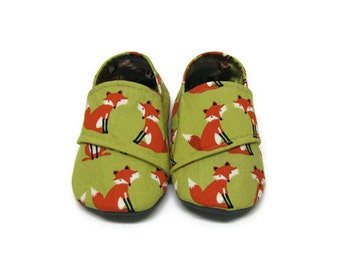 Baby Shoes, Soft Sole Baby Shoes, Fox Baby Shoes, Unisex Baby Shoes, Baby Booties, Infant Slippers, Fabric Baby Shoes, Crib Shoes, 6-12M