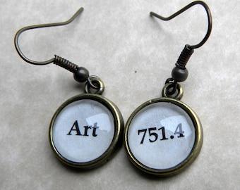 Word Earrings, Art Earrings, Literary Earrings, 751.4 Dewey Decimal