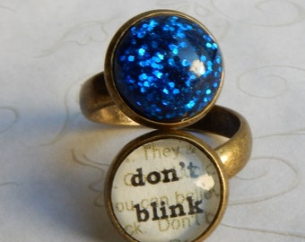 Doctor Who Ring,  DON T BLINK, Adjustable Ring, Blink, Weeping Angels, Doctor Who Jewelry
