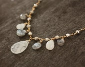 Moonstone, Labradorite, White Sapphire and Silver Pyrite Necklace