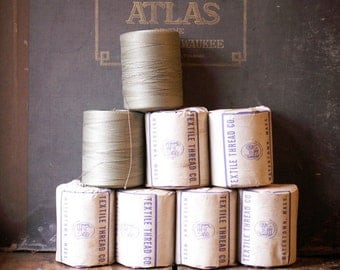 Vintage Industrial Size Spools of Sturdy Stitching Thread from the Textile Thread Company