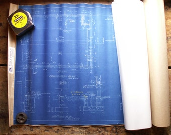 Vintage Roll of Blueprints - Factory Addition Plan for A.E. Ladewig Company - Retro Wall Decor!