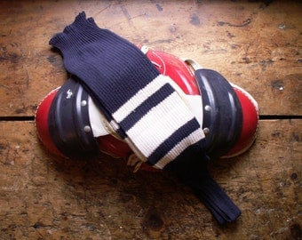Vintage Navy Blue and White Stirrup Style Football Socks - Great Guy Gift!