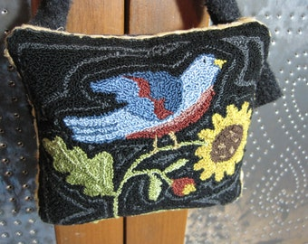 Primitive Bluebird & Sunflower Punch Needle Pin Keep with Applique