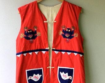 1970s Vintage 3D Quilted Multi Animal Red Cotton Vest // Hippie - Folk