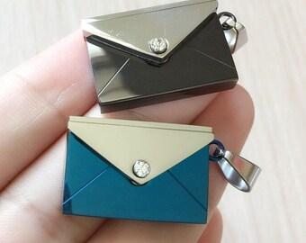 Love Letter Envelope Stainless Steel Pendant- Blue-Black