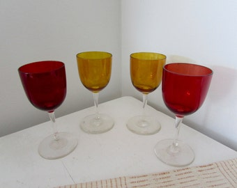 Blown Glass Cordials Red and Yellow