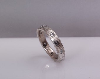 14k palladium white gold and sterling silver mokume gane diamond eternity band