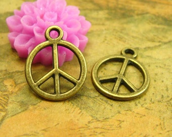 50 pcs Peace Charms Peace Sign Charms 12x12mm CH2551