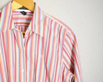 STOREWIDE 15% off SALE - Vintage 90s Ralph Lauren Pink Green Striped Button Up Down Shirt // womens medium // petite large