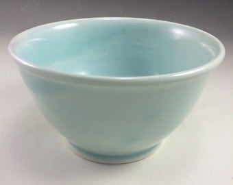 Ice Blue Celadon Round Wheel Thrown Porcelain Ceramic Bowl