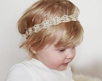 Gold Baby Headband, Christmas Headbands For Babies, Crochet Baby Headband, Baby Girl First Birthday Headband, Baby Gift, Baby Shower Gift