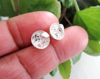 Herkimer Diamond Mountains - Stud Earrings - Raw Crystal - Minimalist Jewelry