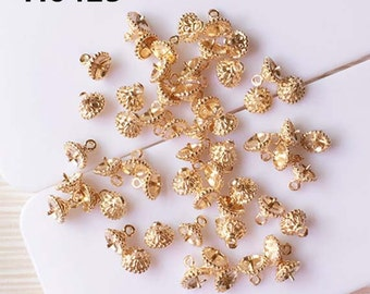 20pcs pearl cap with peg for half drilled flower beads golden mix size