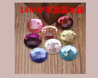 10pcs round faceted glass rhinestones/gems cabochon 14mm flatback mix colors