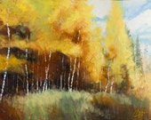 Original oil painting, Aspen Autumn II, impressionist fall landscape of Colorado in the Rocky Mountains