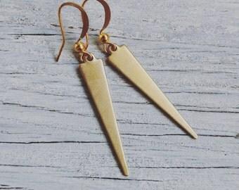 Flat Spike Raw Brass Earring's