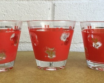 3 Mid Century Red & Gold Paisley Cocktail Glasses MCM