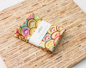 Small Cloth Napkins - Set of 4 - (N4157s) - Colorful Fanfare Modern Reusable Fabric Napkins