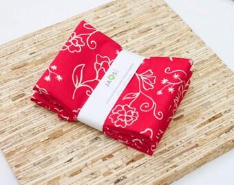 Large Cloth Napkins - Set of 4 - (N4496) - Red Floral Outline Modern Reusable Fabric Napkins