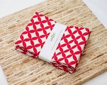 Large Cloth Napkins - Set of 4 - (N4041) - Red Geometric Modern Reusable Fabric Napkins 041