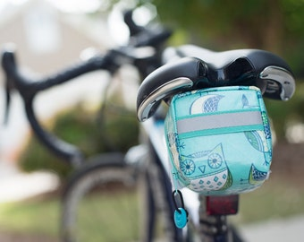 Owl print seat bag for bicycle